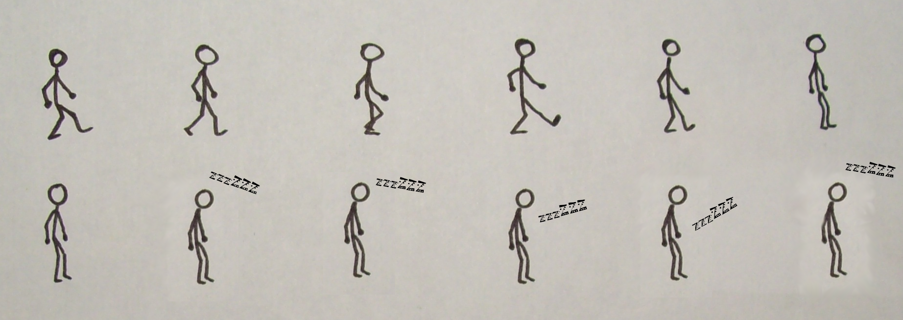 Un bonhomme marche, s'arrête puis s'endort debout.