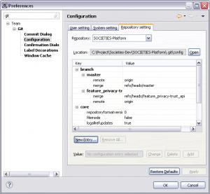Configuration de Git dans Eclipse